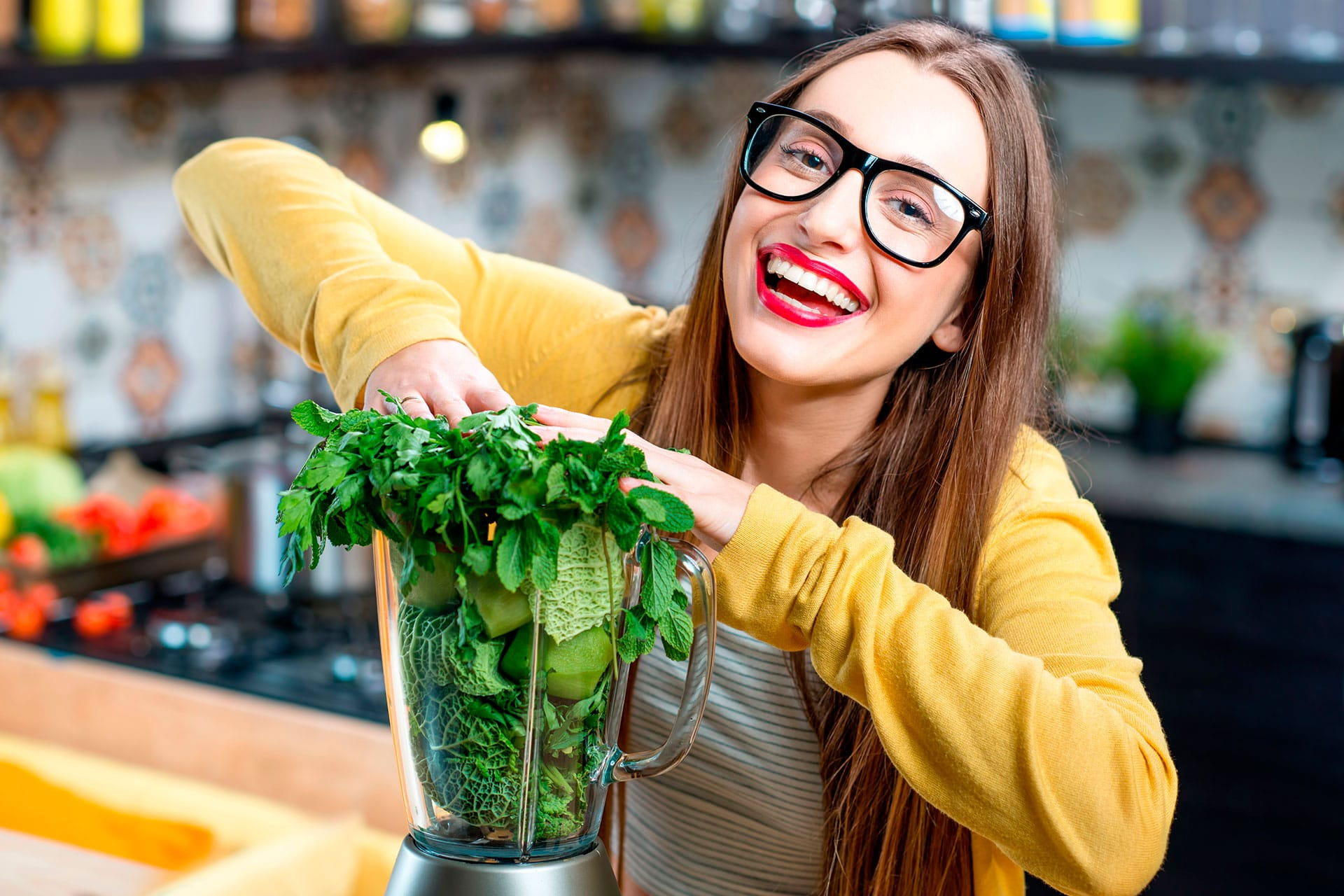 girl eating green food